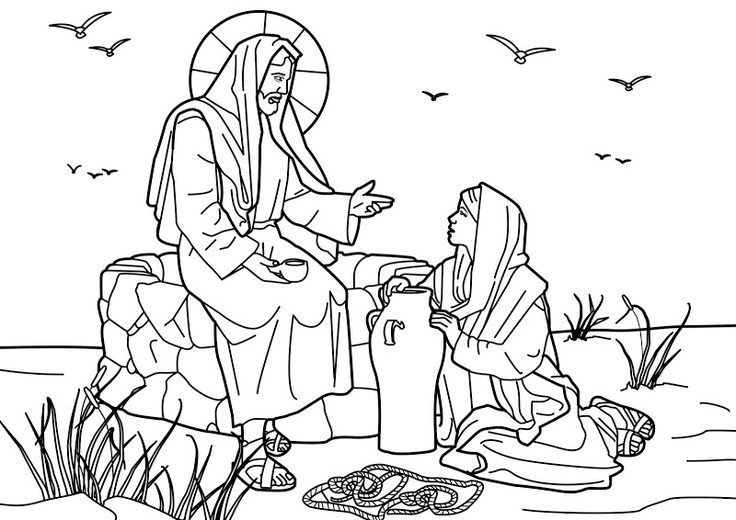Jesus and the Samaritan woman at the well. Bible coloring page