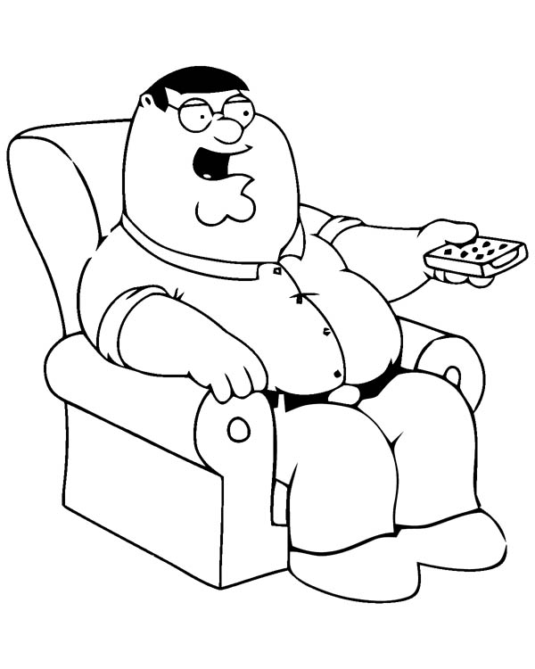 peter using tv remote in family guy coloring page peter griffin from family guy coloring