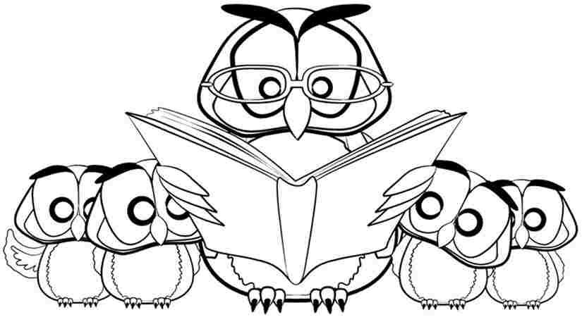 Reading Books - Coloring Page for Kids - Free Printable Picture ... | 450x825