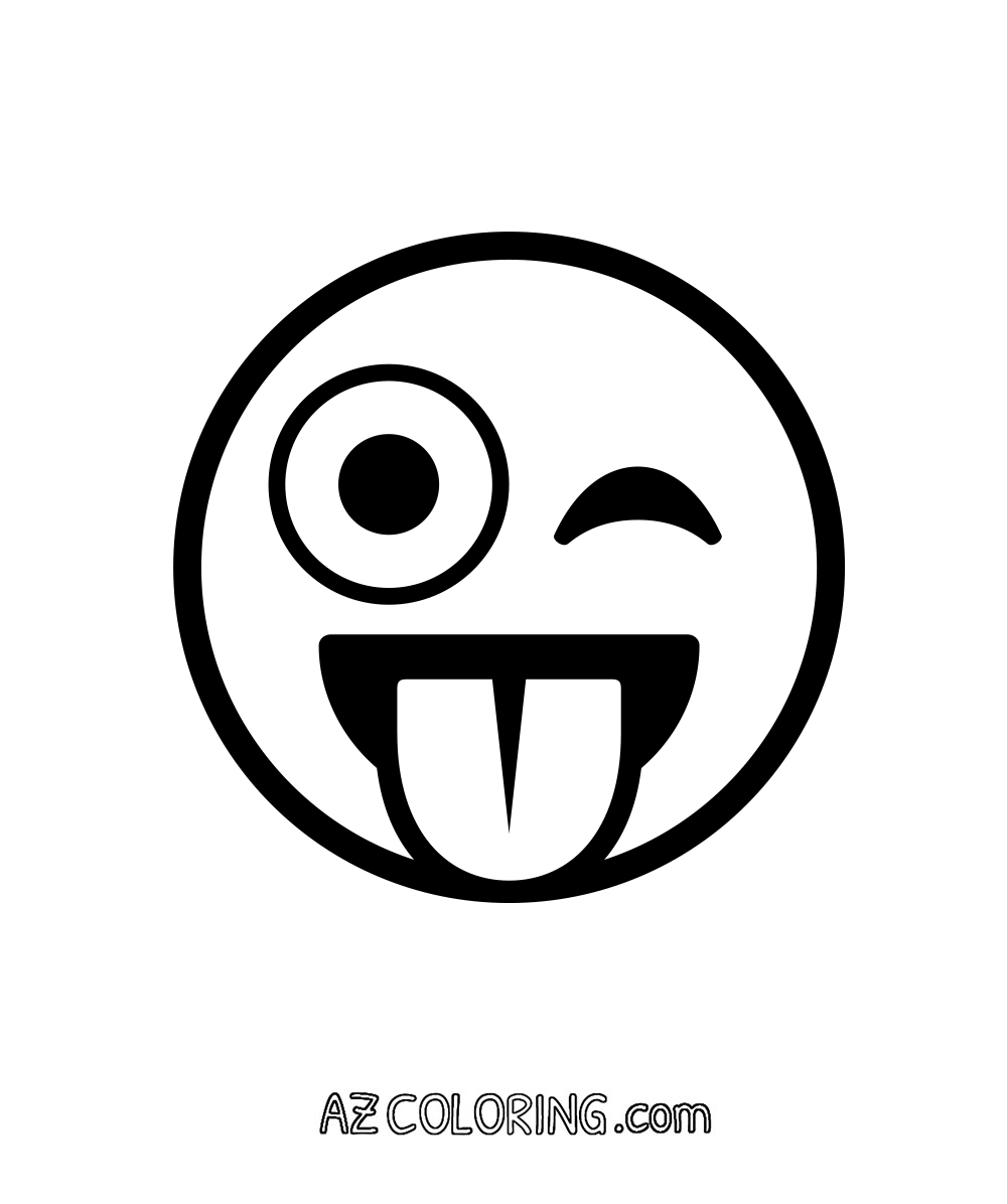 Printable coloring pages emoji - Face With Stuck Out Tongue And Winking Eye Crazy Emoji Coloring Page