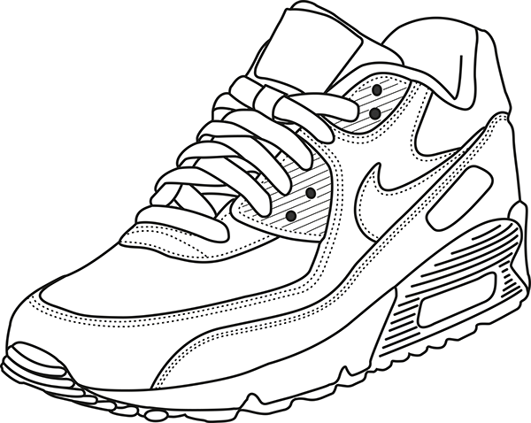 Nike Air Force One Coloring Page Page 1 Line 17qq Com Coloring Home