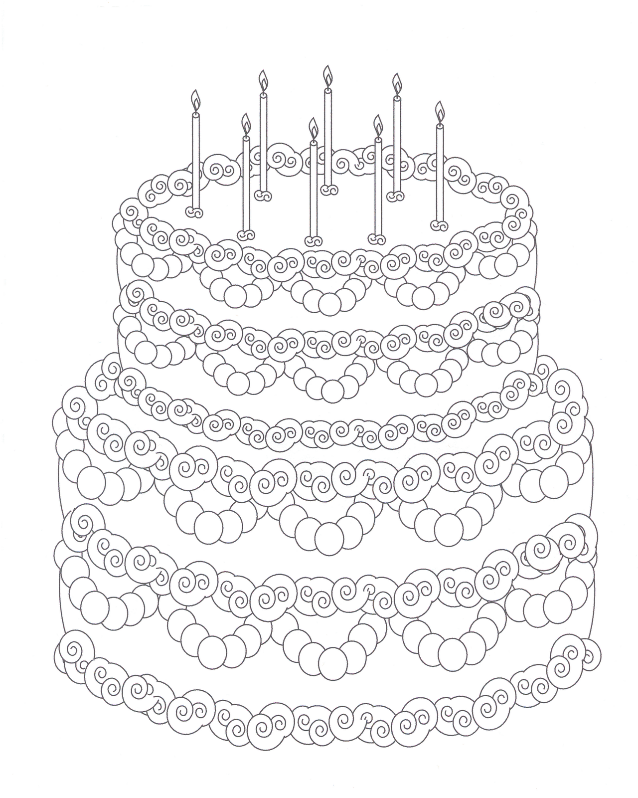 happy birthday cake coloring pages coloring home