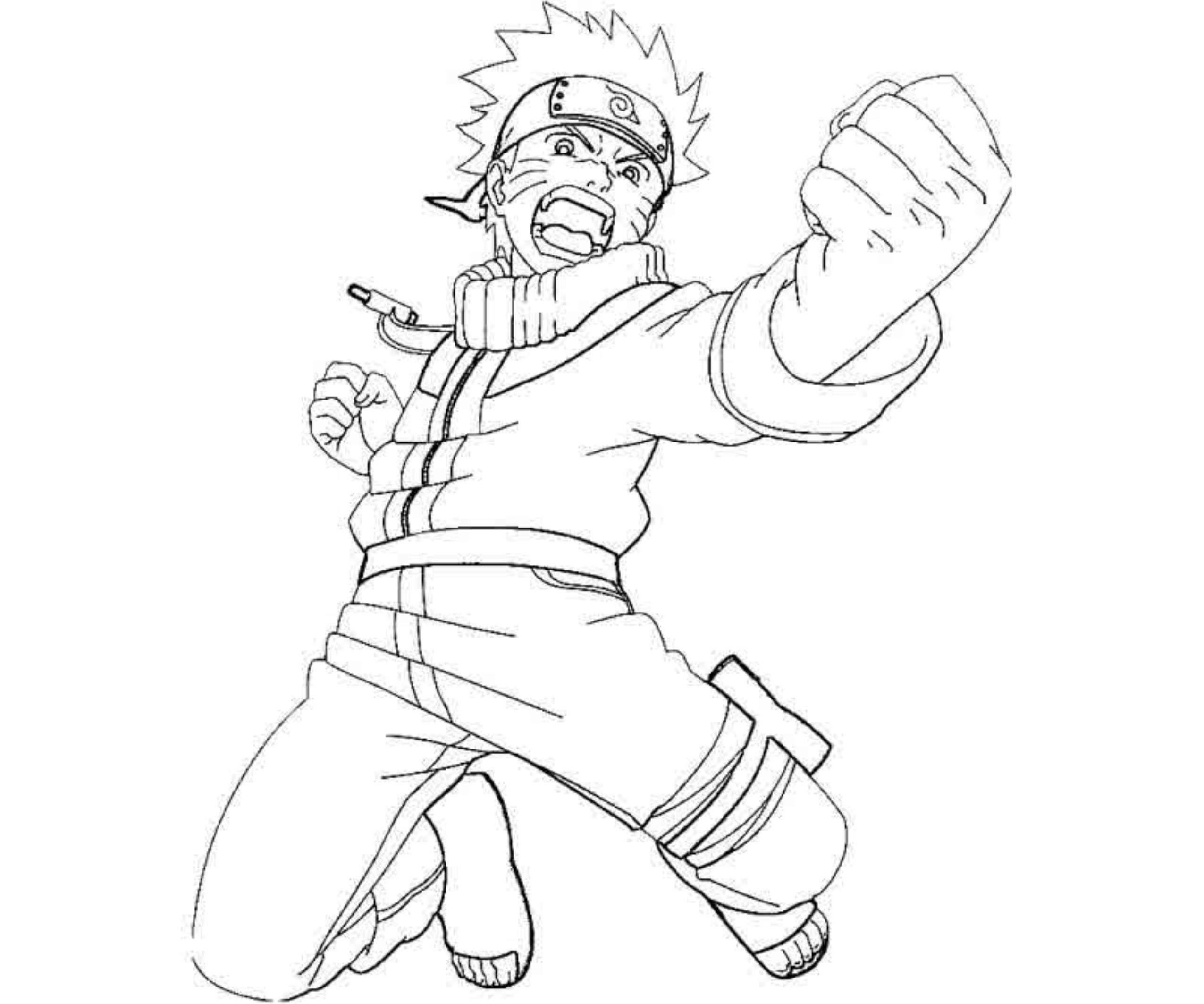 Naruto vs Sasuke anime coloring pages for kids, printable free | 2126x2551