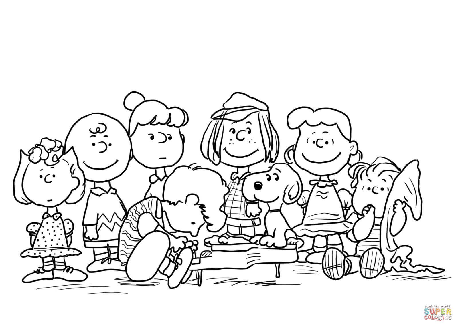 Peanuts Characters Coloring Page Free Printable Coloring