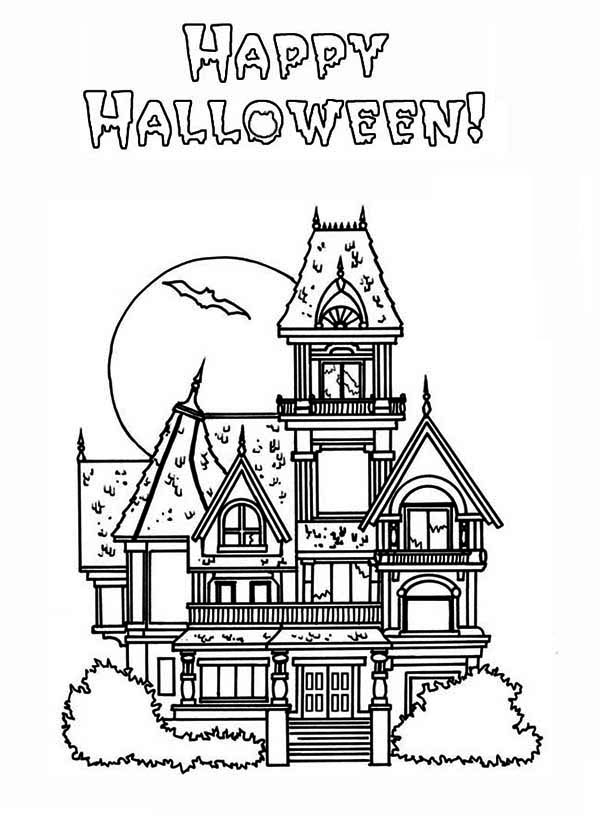 Halloween haunted house coloring pages