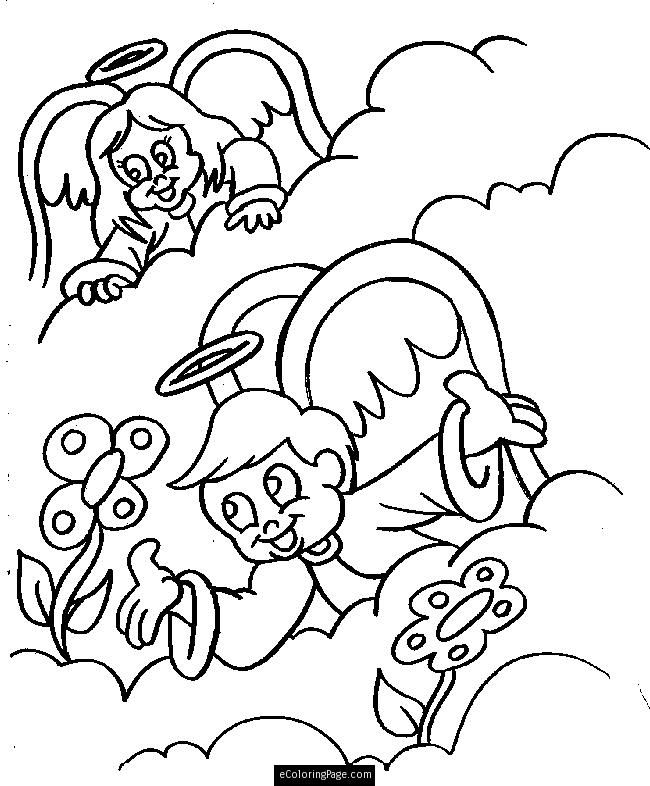 Angels Boy and Girl in Heaven with Flowers Coloring Page for Kids