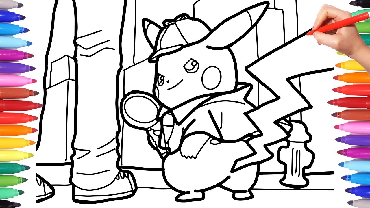 Detective Pikachu Coloring Pages For Kids, How To Draw Pokèmon ...