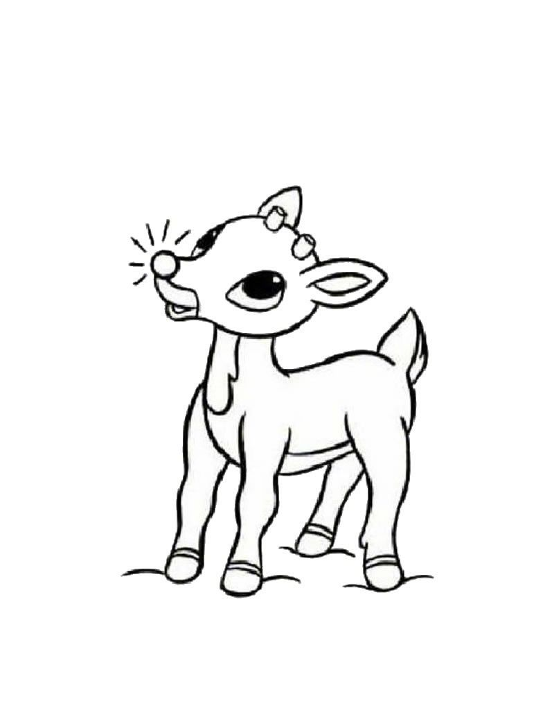 SANTA'S REINDEER coloring pages - Rudolph the red-nosed reindeer