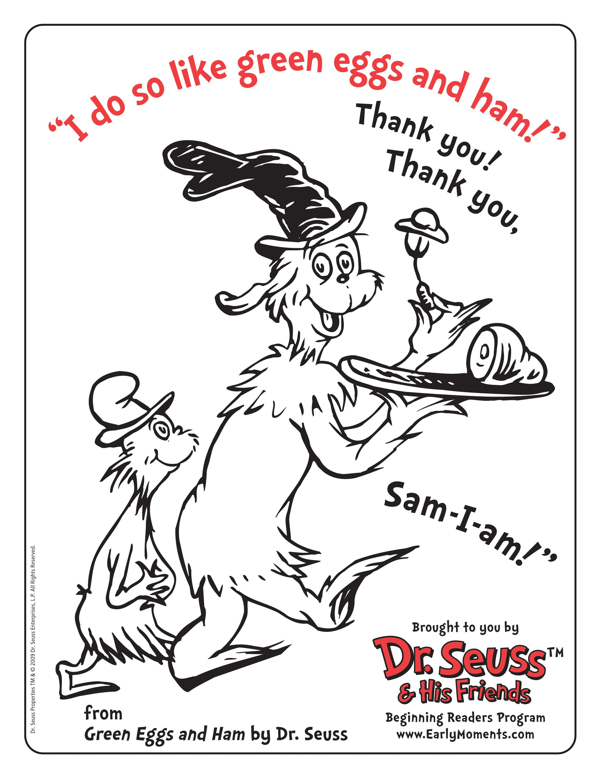 Dr Seuss Green Eggs And Ham Coloring Page