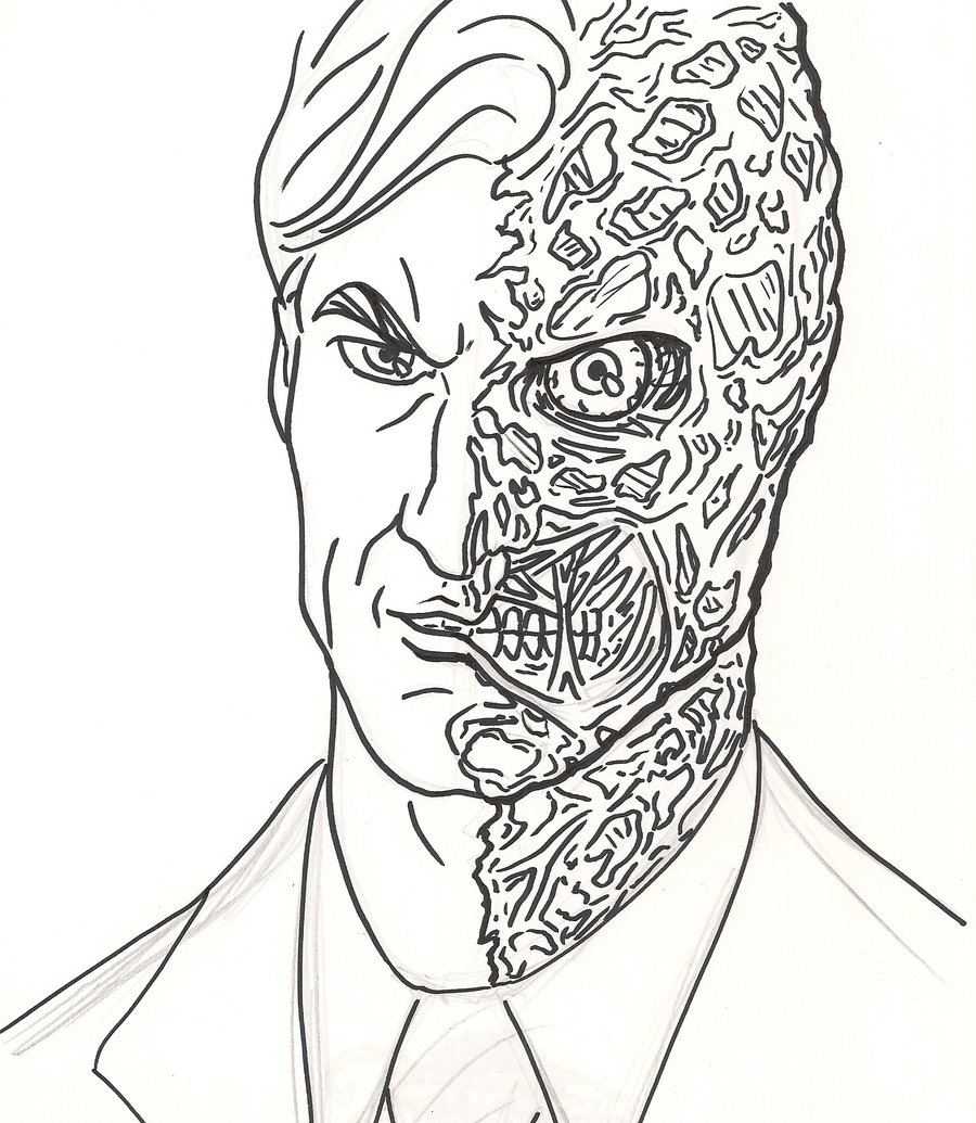 harvey dent the dark knight two face coloring pages