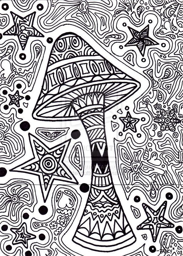 trippy coloring pages star shroom by razorblade butterfly on