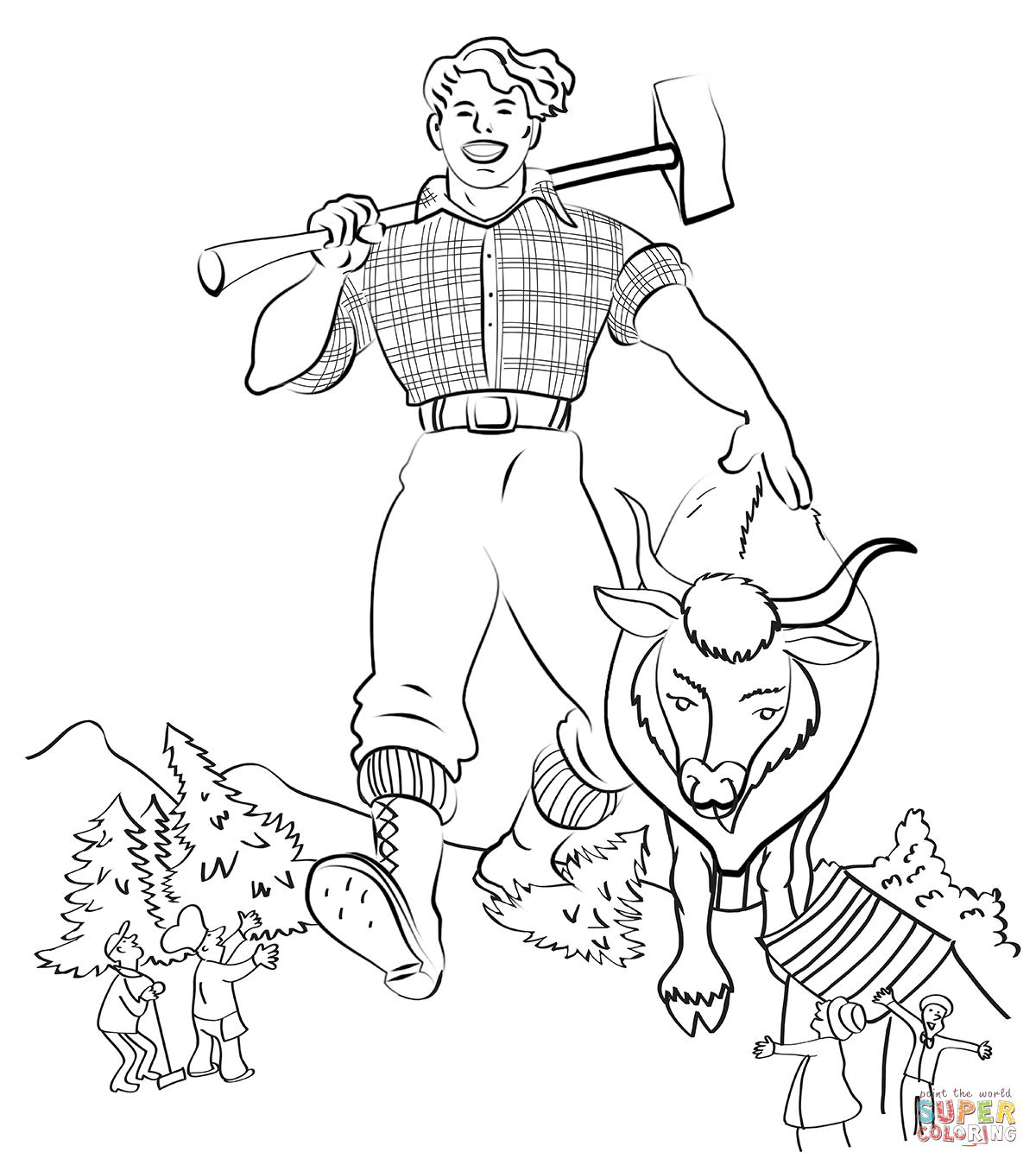 Paul Bunyan and Babe the Blue Ox coloring page | Free Printable ...