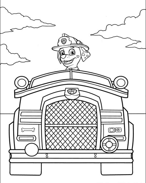 Marshal Firetruck - Paw Patrol Coloring Pages
