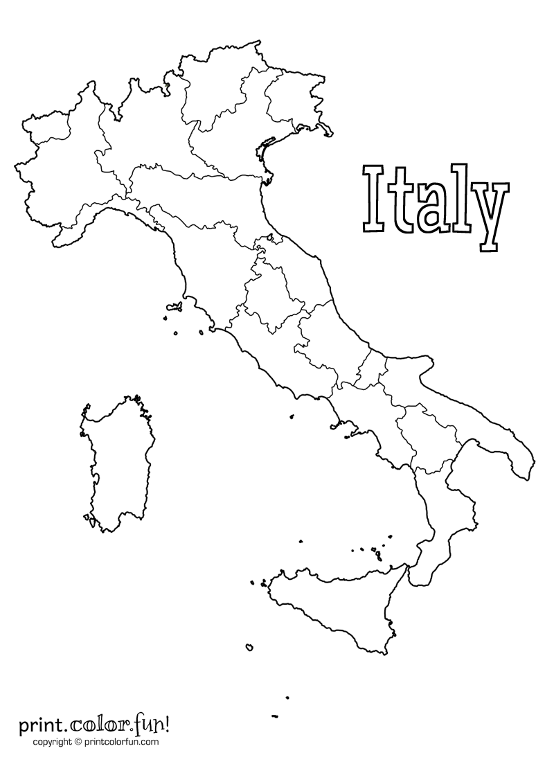 Map of Italy coloring page - Print. Color. Fun!