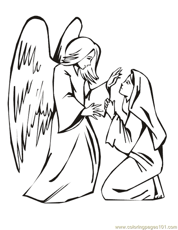 Coloring Page Angel Visits Mary - High Quality Coloring ...