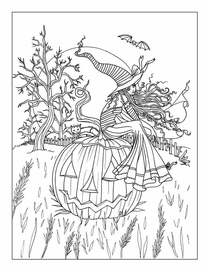 Free printable halloween coloring pages adults coloring home for Halloween coloring pages for adults printables