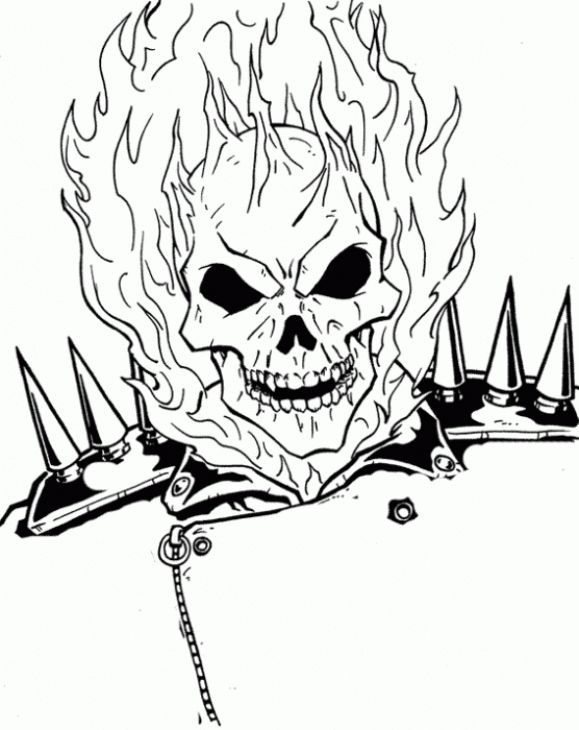 The Burning Face Of Ghost Rider Coloring Page