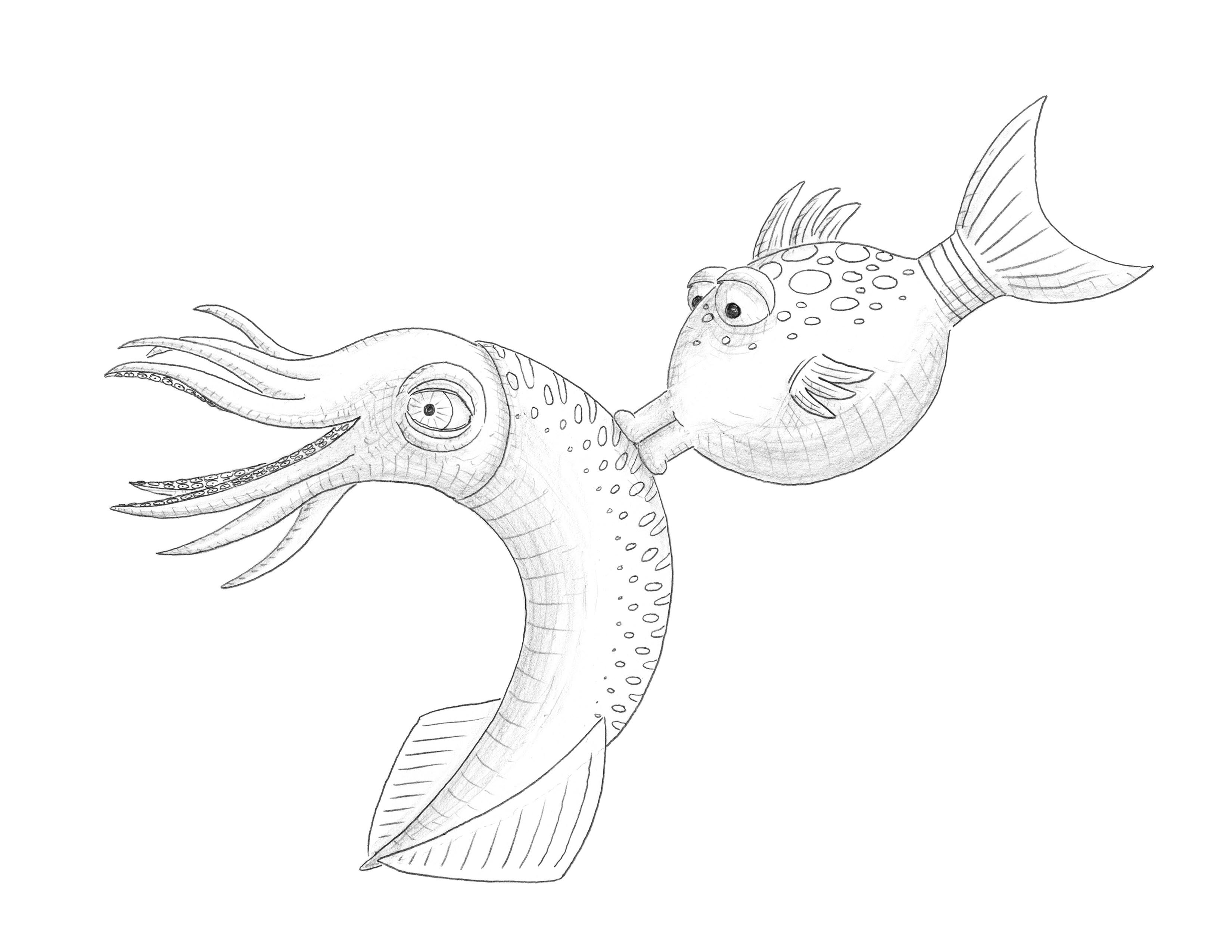 fishes kissing coloring pages - photo#29