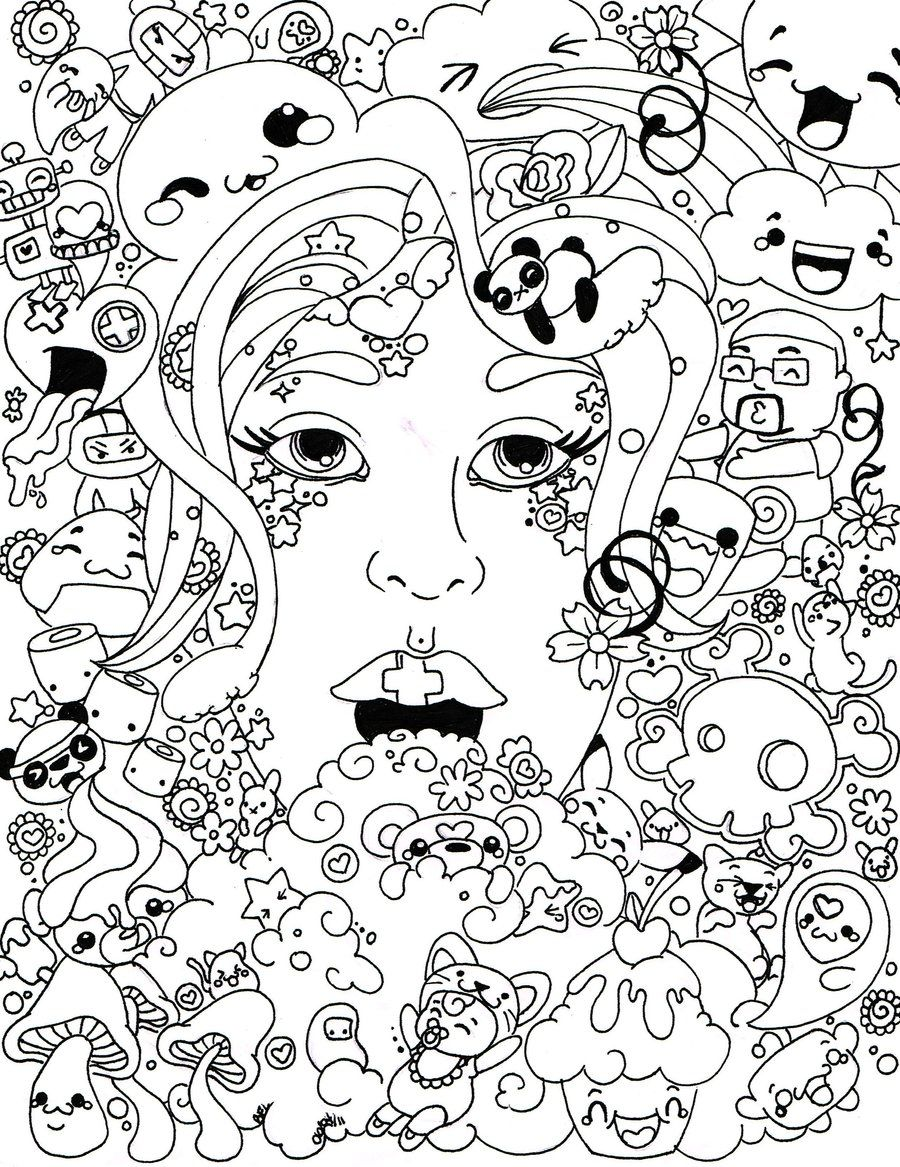 An intricate coloring page for adults featuring aliens - Trippy Coloring Book Pages Coloring Pages Ideas