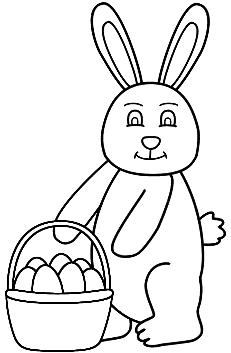 Easter Bunny Holding Basket Of Eggs - Coloring Page (Easter ...