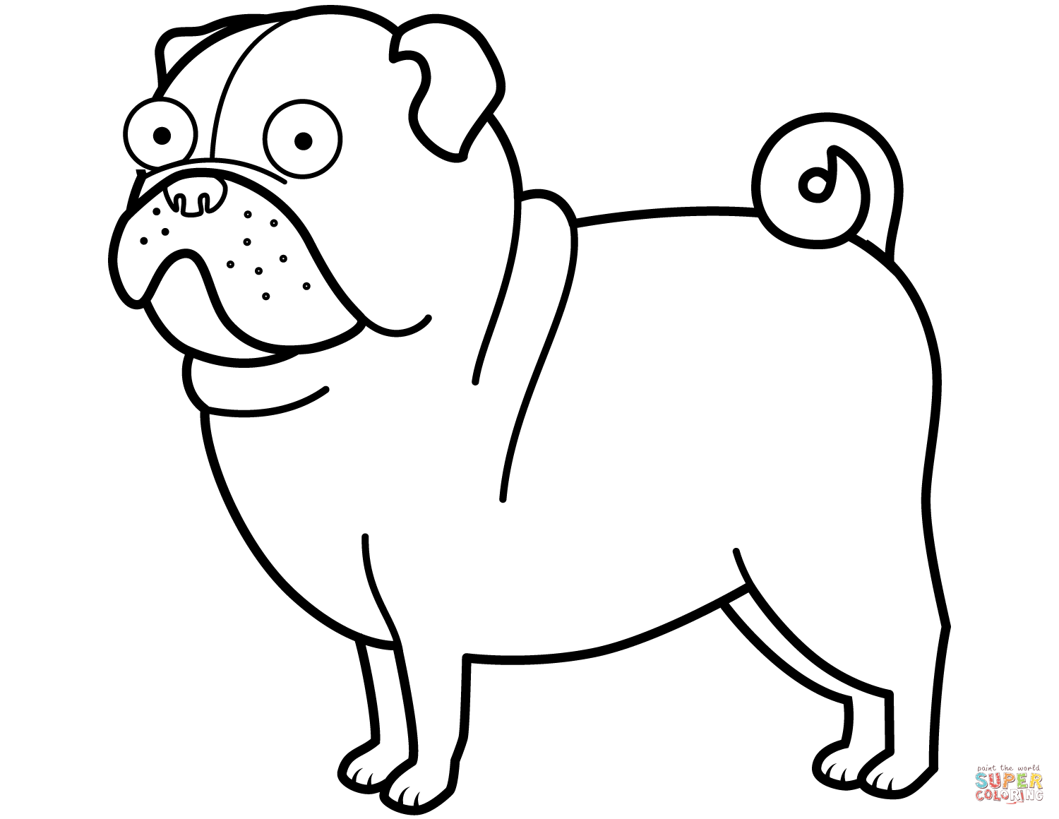Pug Dog coloring page | Free Printable Coloring Pages