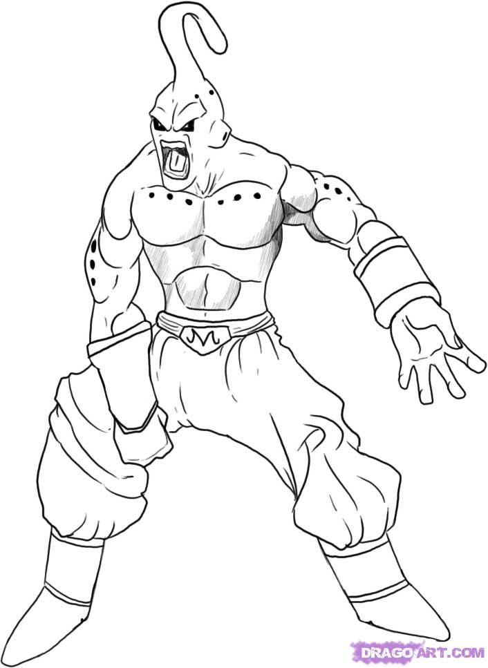 dbz kid buu coloring pages