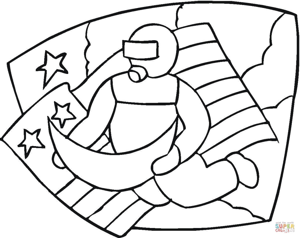 astronaut in the outer space coloring page free printable