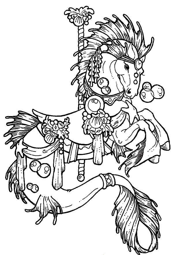 Carousel horse pages coloring pages for Carousel horse coloring page