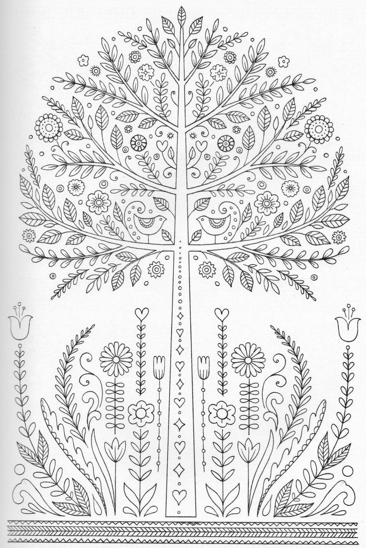 Coloring Pages: Forest Tree Isolated Big Old Tree Vector Botany ...