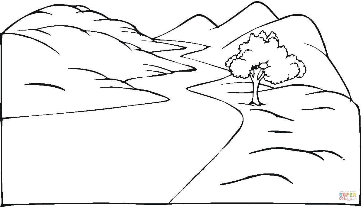 Free coloring pages landscapes - Landscape And The Winding Road Coloring Page Free Printable