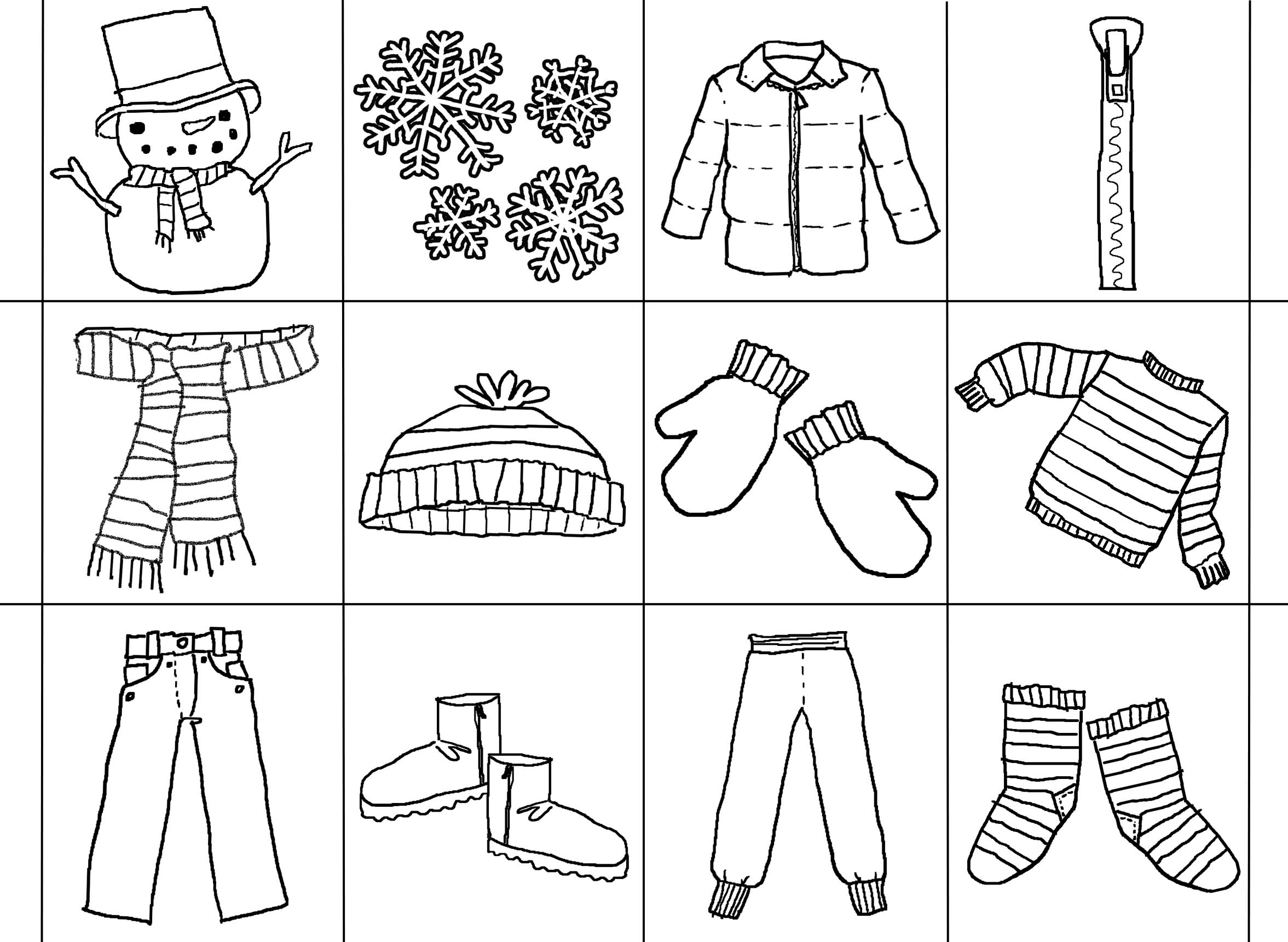 Coloring Page Of Winter Clothes - AZ Coloring Pages