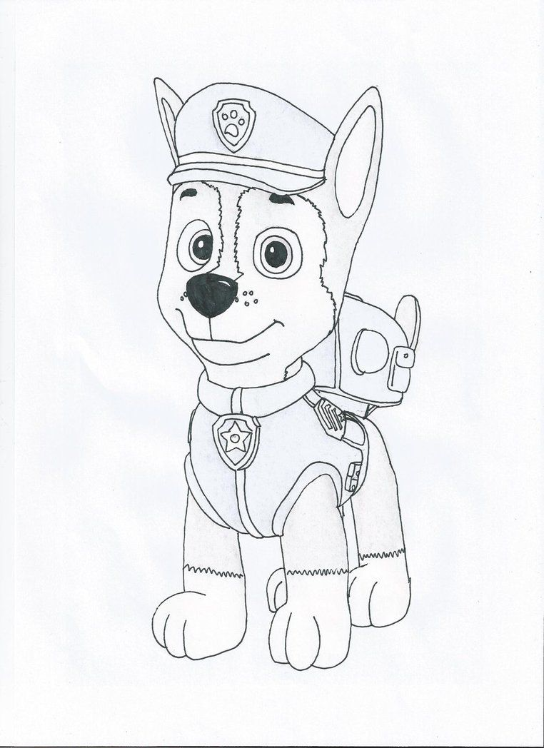 Coloring Pages Of Chase From Paw Patrol : Paw patrol chase coloring page home