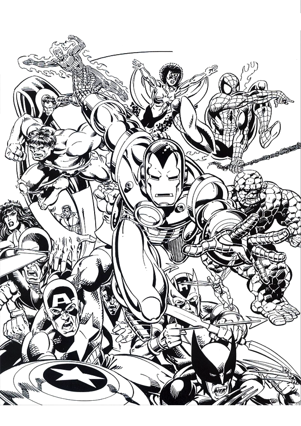Comic coloring pages free coloring home for Marvel universe coloring pages