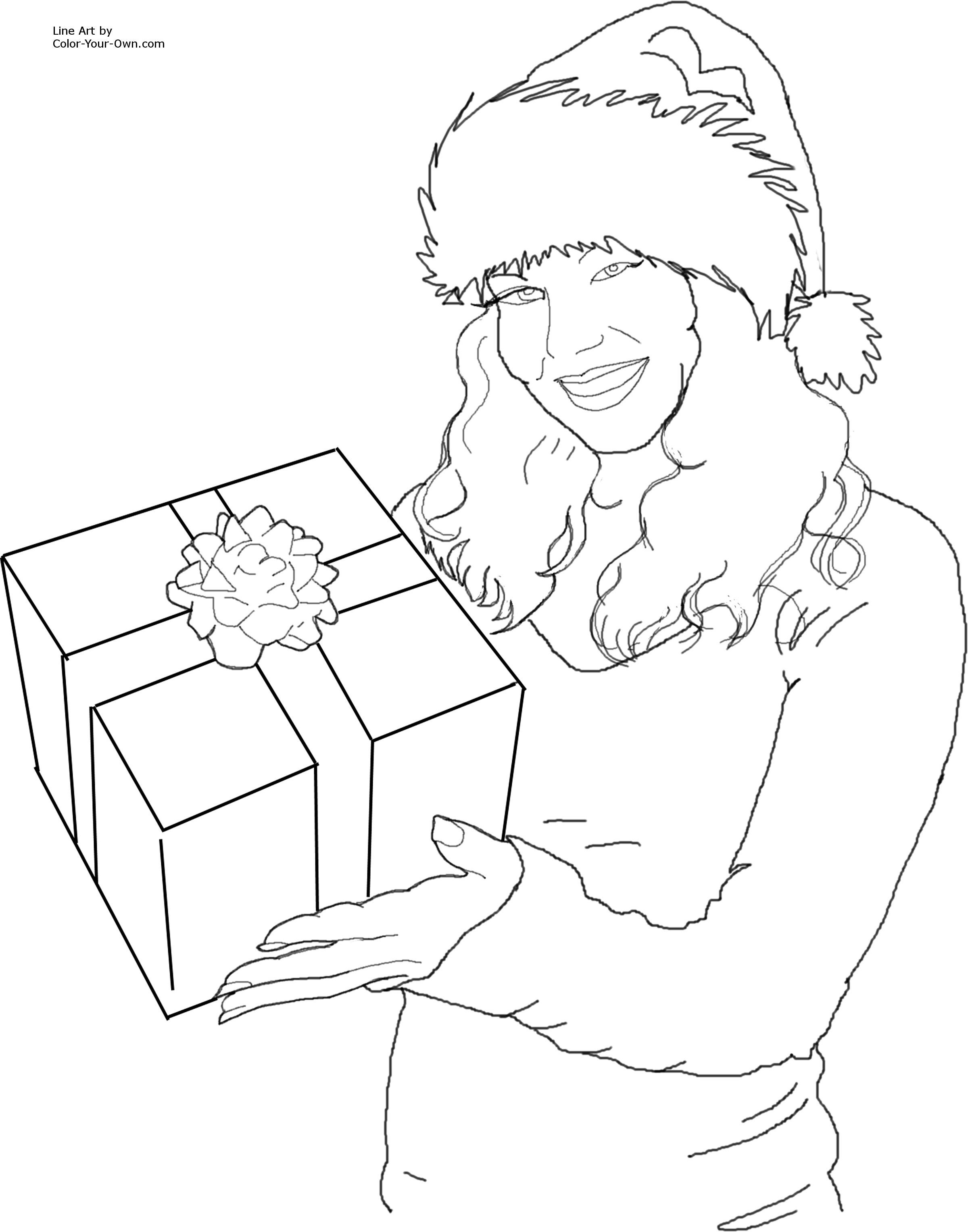 Christmas present coloring pages for kids