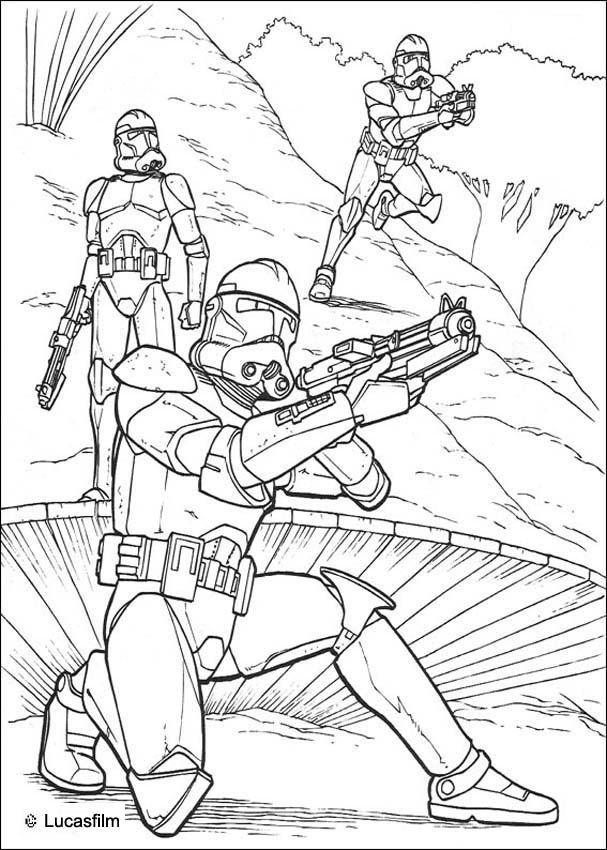 STAR WARS coloring pages - Clone soldiers running