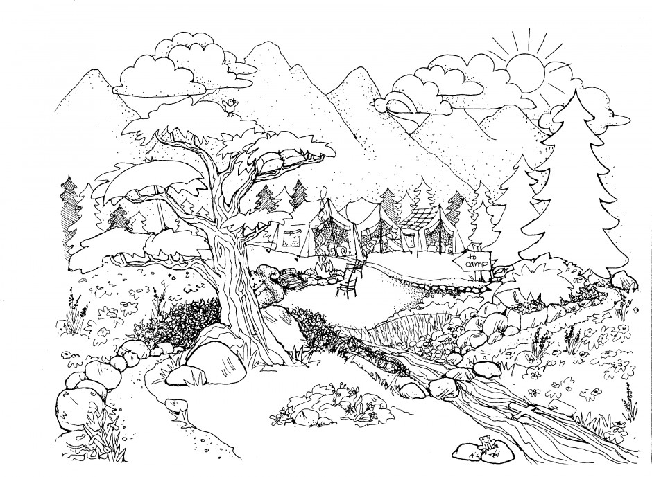 Coloring Pages For Adults Nature On Design Ideas