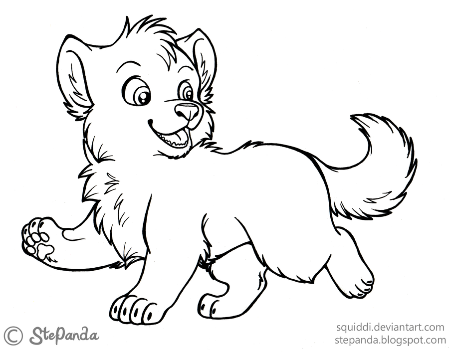 Free Printable Cute Baby Wolf Coloring Pages