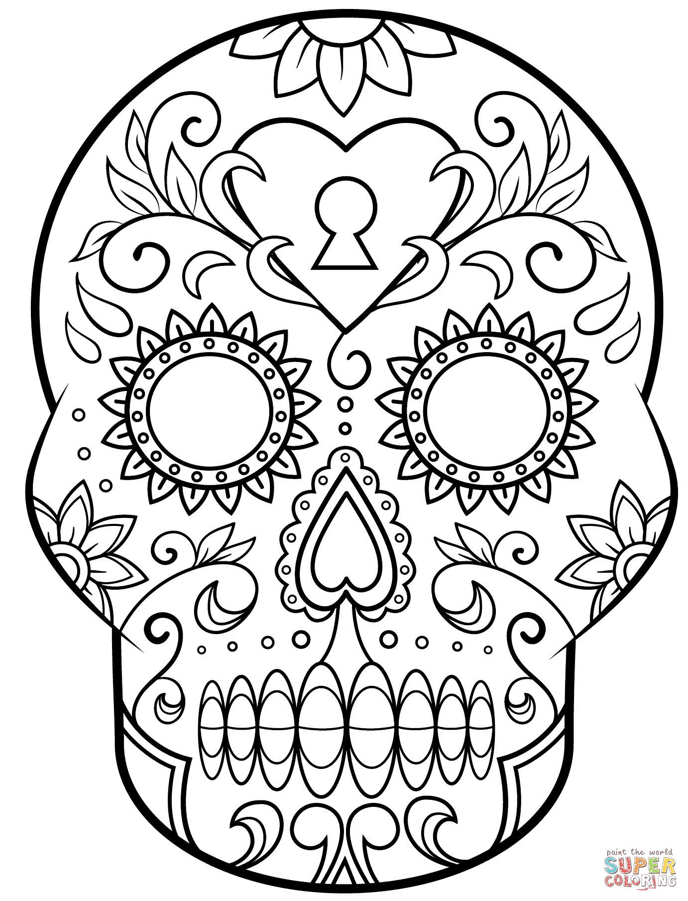 Day of the Dead Sugar Skull coloring page | Free Printable ...