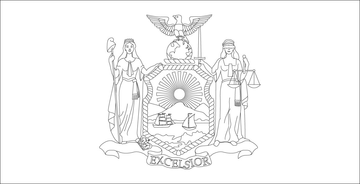 New York State Flag Coloring Page
