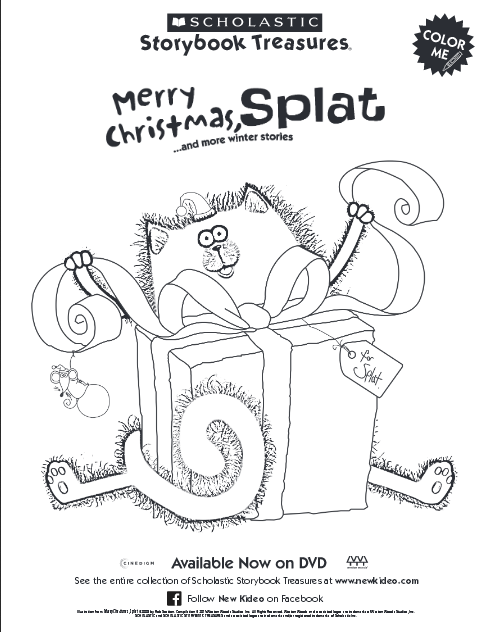 Splat The Cat Christmas Coloring Page