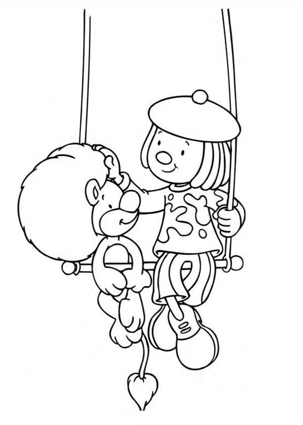 Jojo and Goliat Sitting on the Swing in Jojo's Circus Coloring ...