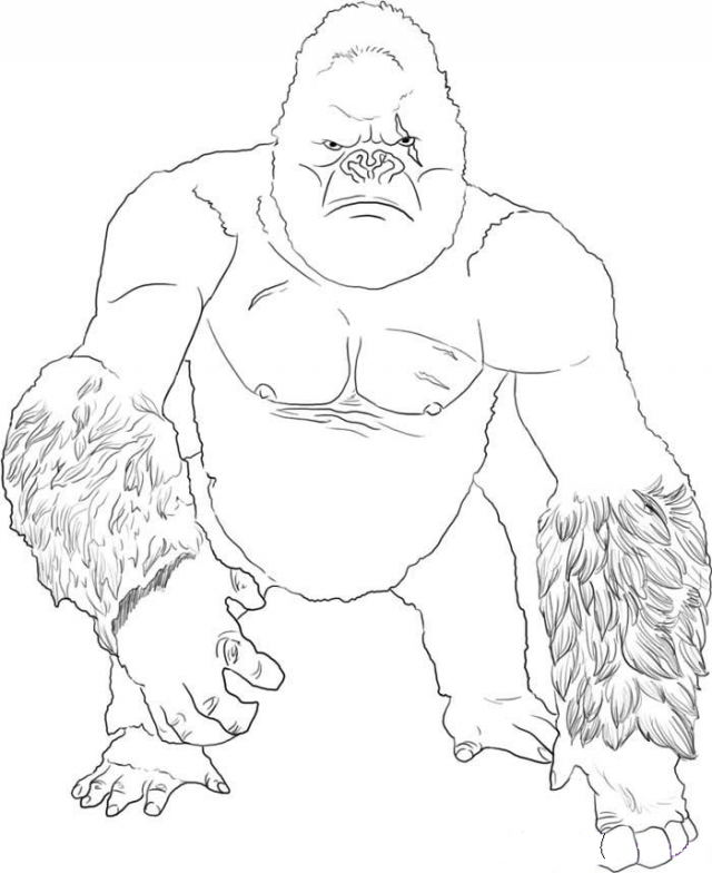 King Kong Coloring Pages Free Printable Download Cartoons