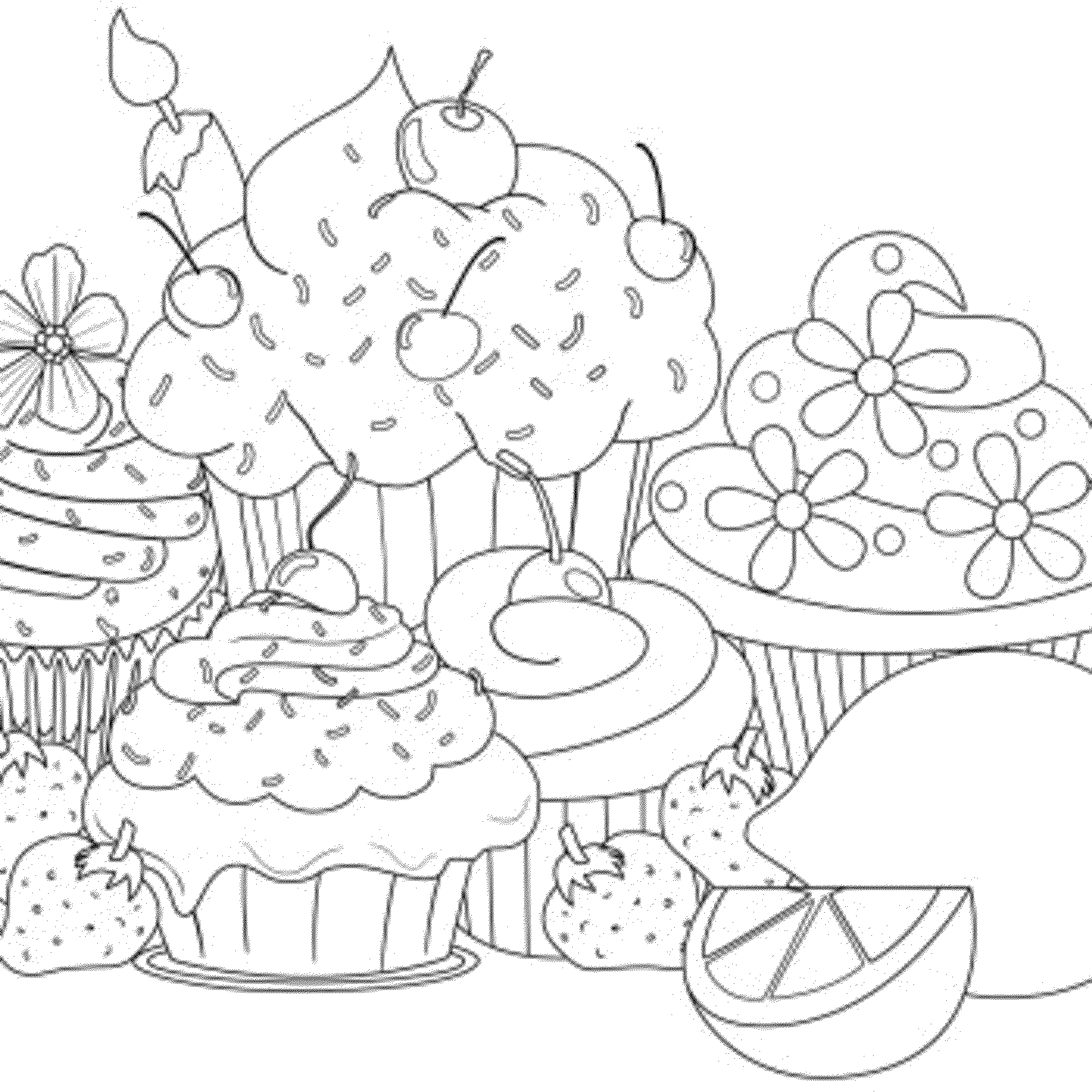 Coloring pages cupcakes