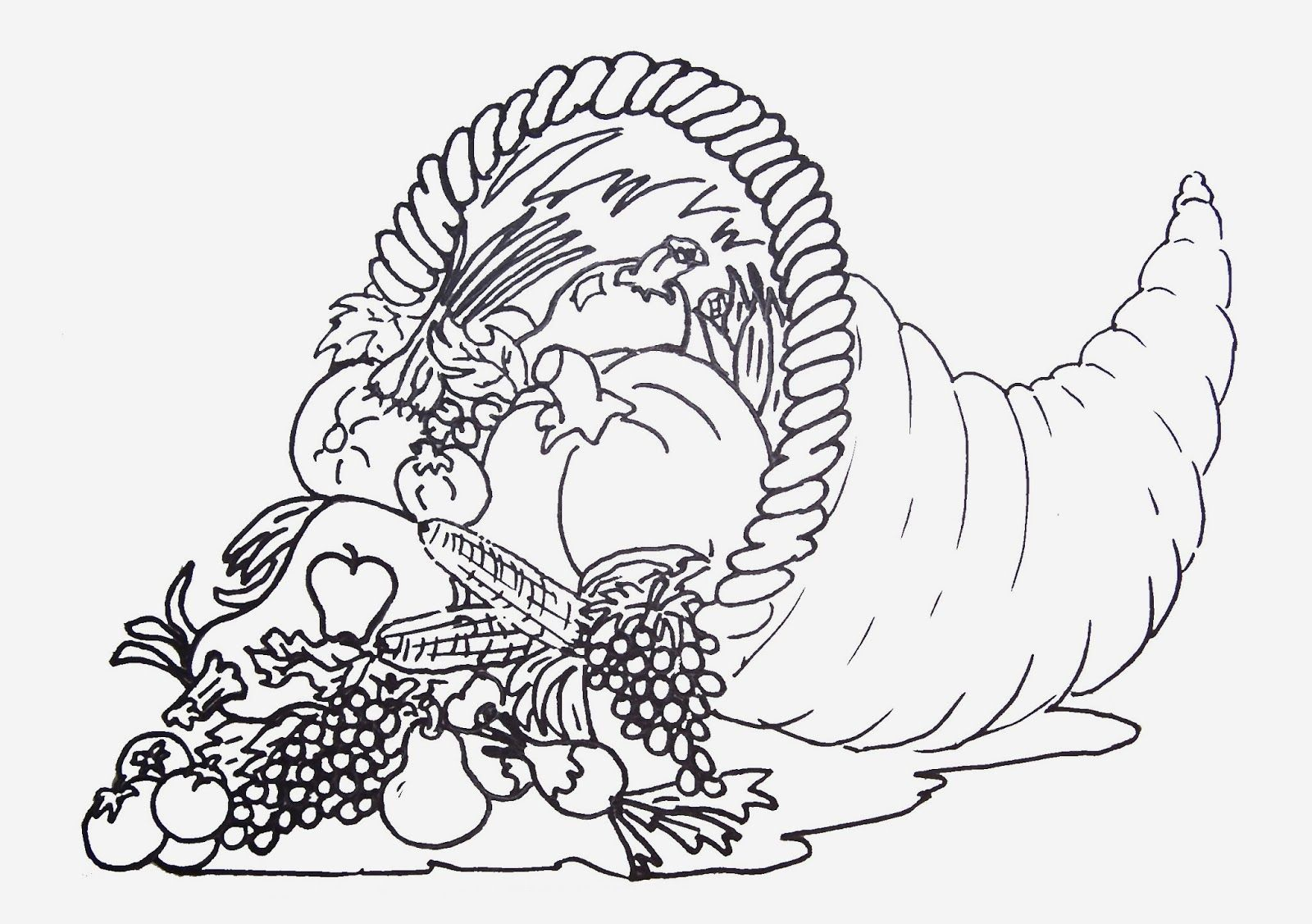 Coloring Pages Cornucopia Printable Coloring Pages cornucopia coloring page az pages thanksgiving halloween arts