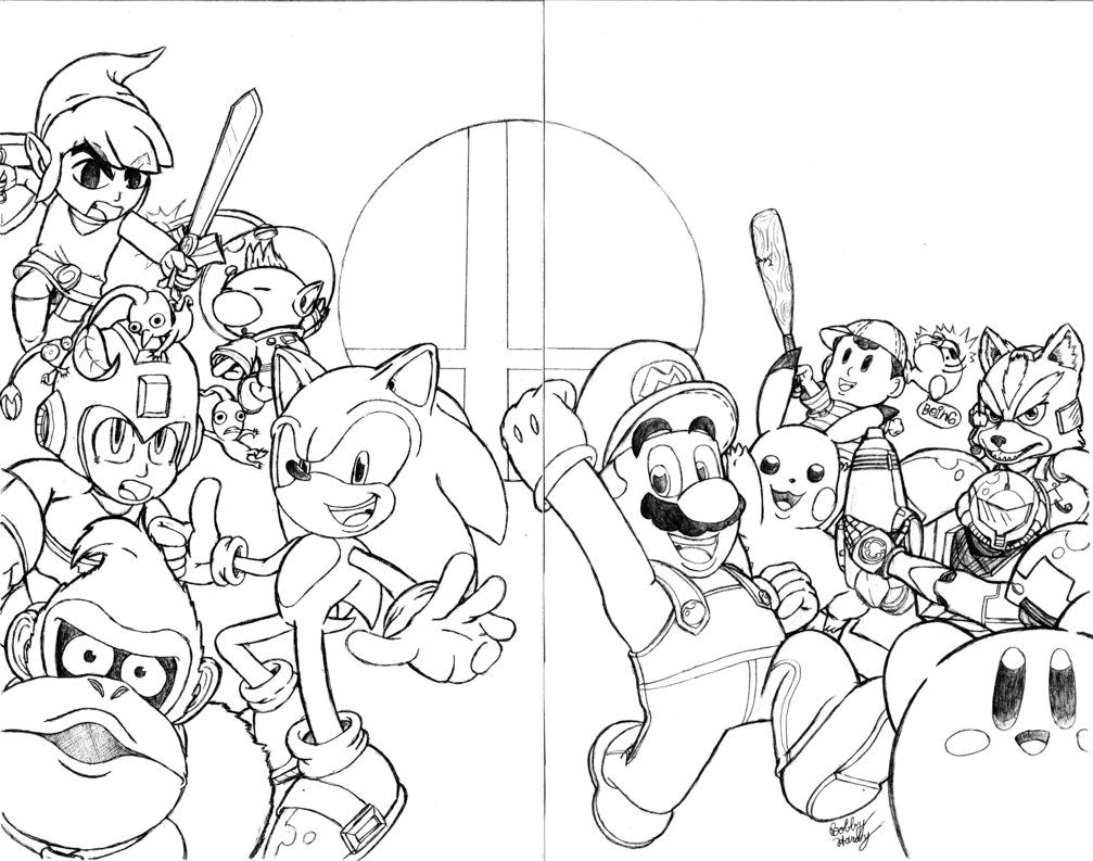 Super Smash Brothers Coloring Pages Coloring Pages Kids