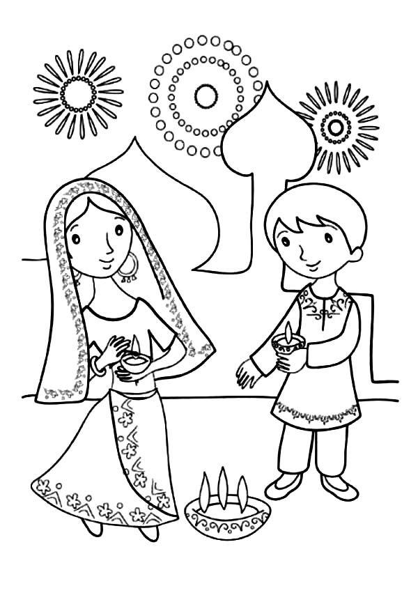 coloring pages of diwali scenes - photo#29