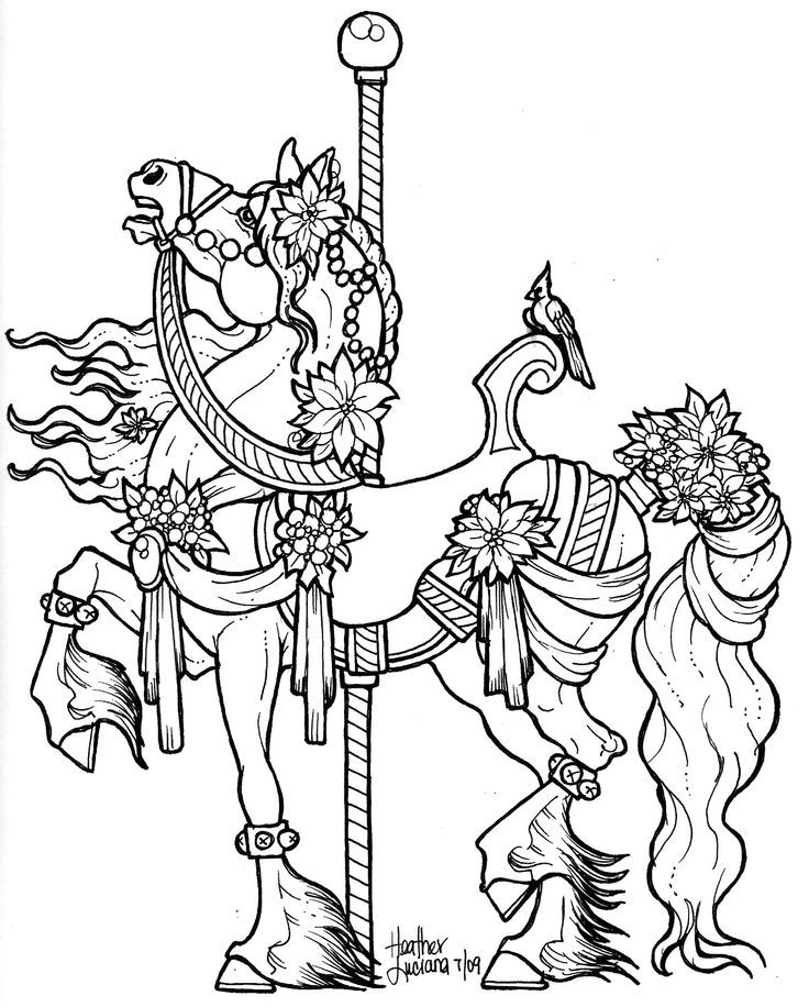 carousel animals coloring pages - carousel horse coloring pages to print coloring home
