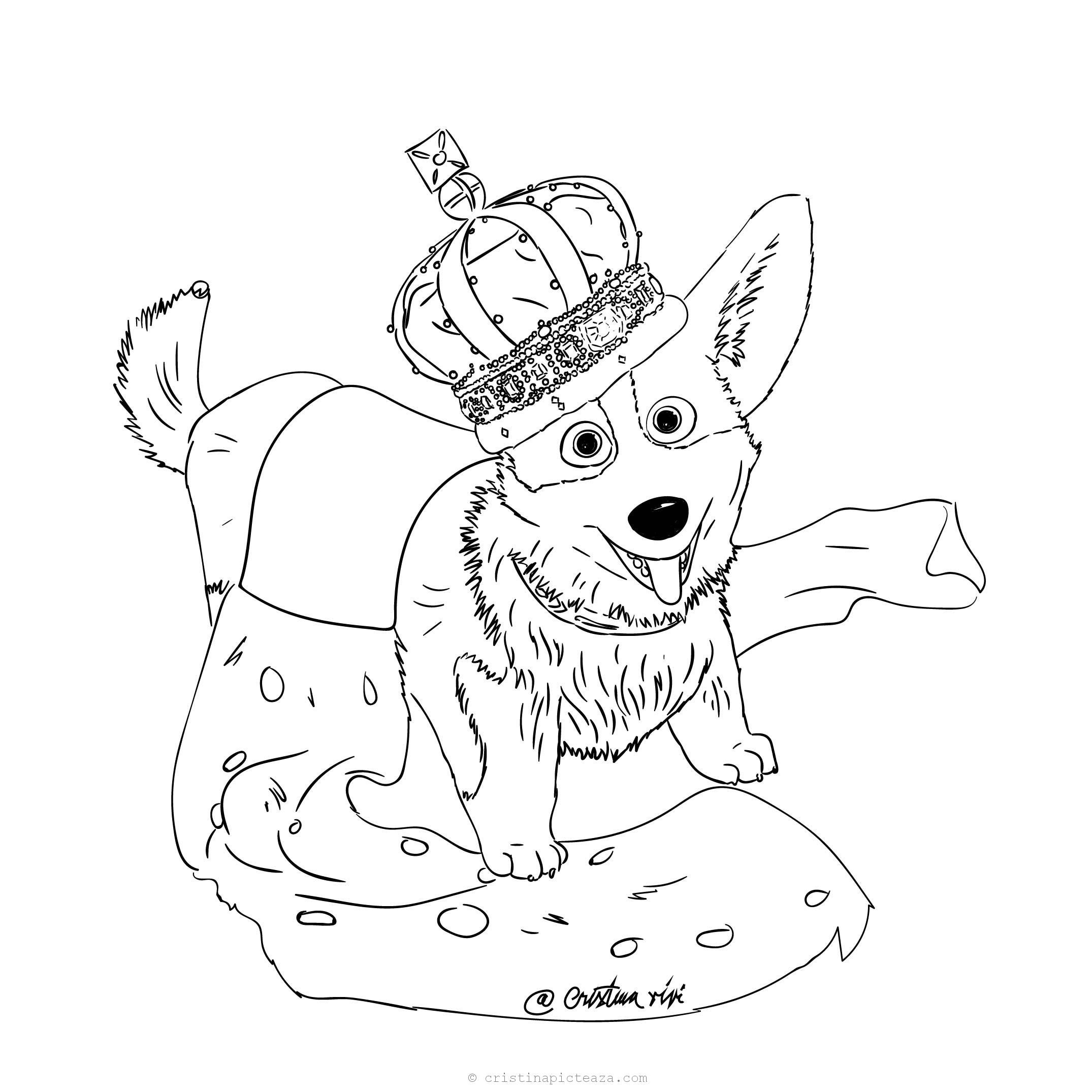 The Queen's Corgi Coloring Pages – Dog coloring pages