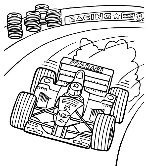 F1 Track Racing Coloring Page - Formula 1 car coloring pages | Race car coloring  pages, Cars coloring pages, Sports coloring pages