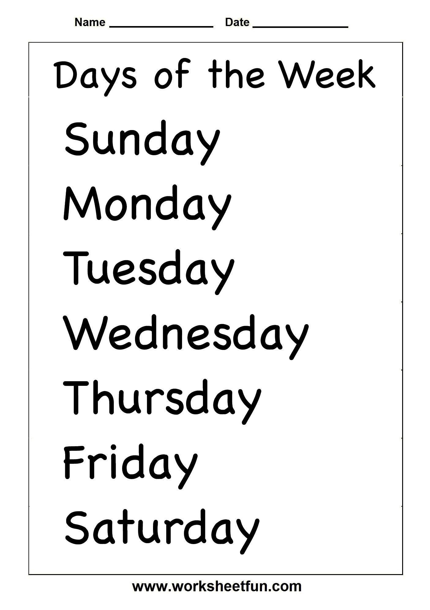Days of week worksheet